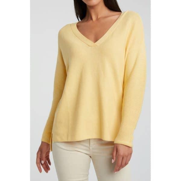 Gerippter Pullover aus Baumwollmischung mit Seitenschlitzen Angebote DRESS Pullover