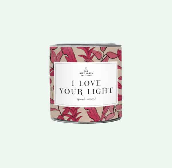 Big Candle Tin I Love Your Light + GB Geschenke Big Candle Tin