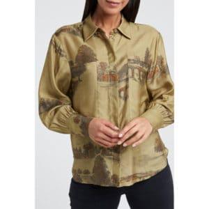 Silk Blend Shirt with Concealed Side Pockets Angebote DRESS Bluse