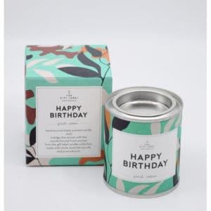 Small Candle Tin Happy Birthday + GB Geschenke Happy Birthday