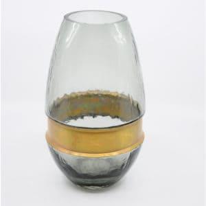 Vase grau oval GLAS 13×22 Dekoration Cosy & Trendy