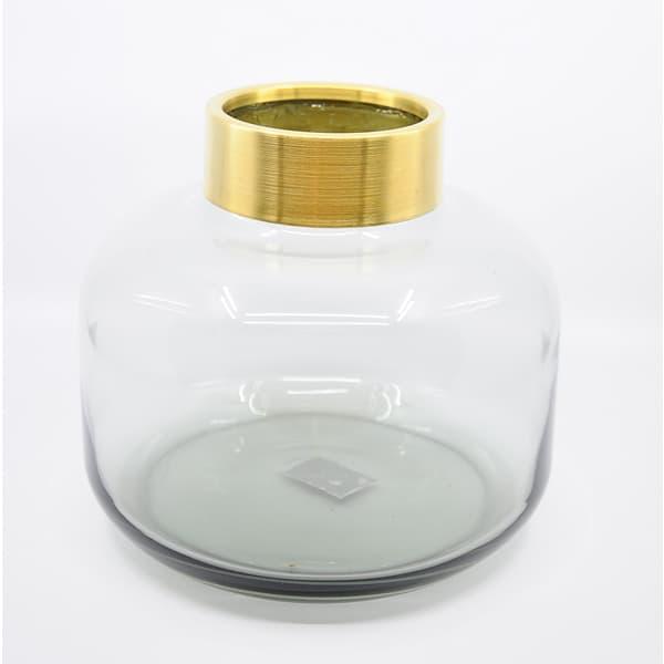 Vase grau rund GLAS 22,5x20,5