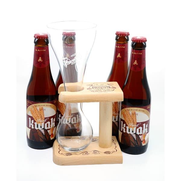 """""""Kwak"""" Geschenkset 8,4% Vol. 4×0,33l + 1 Glas Bier Beer"""