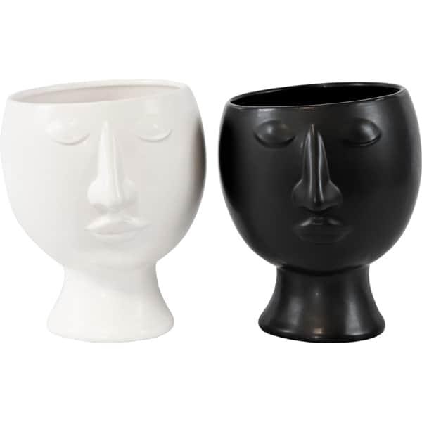 ÜBERTOPF Gesicht Black & White weiss Dekoration HOFF Interieur