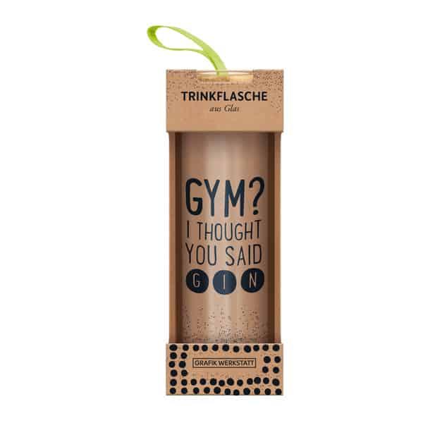 Glas-Trinkflasche GYM GIN Geschenke GRAFiK WERKSTATT Das Original