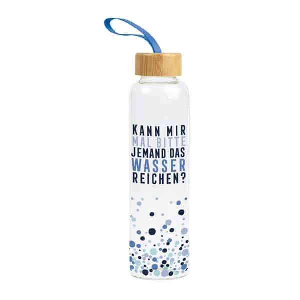 Glas-Trinkflasche WASSER