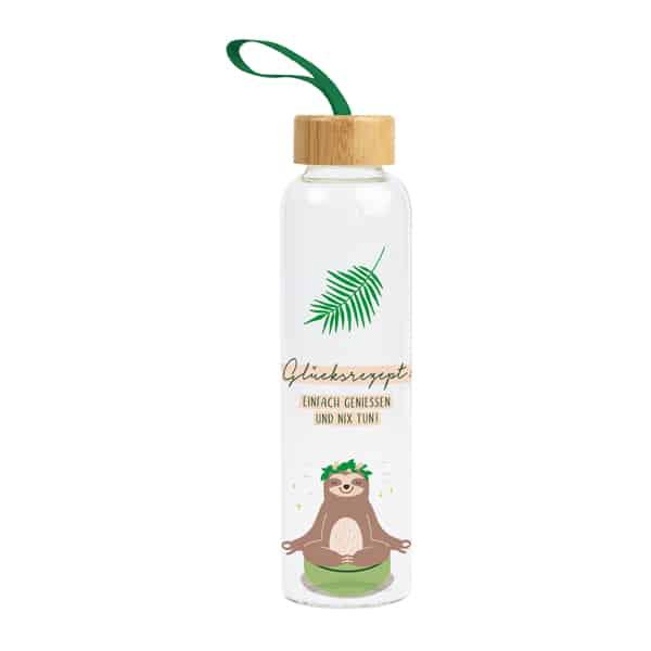 Glas-Trinkflasche GLÜCKSREZEPT